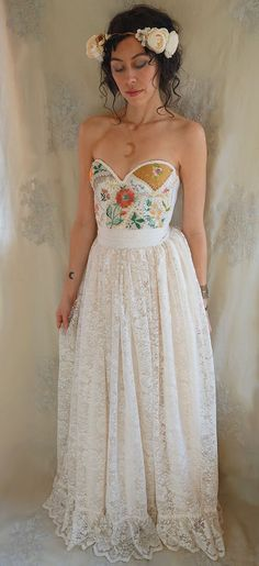 Meadow Bustier Wedding Gown... women dress boho whimsical woodland by Jada Dreaming