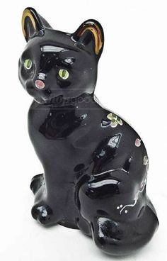 shopgoodwill.com: Fenton Glass Black Cat Hand Painted Signed