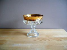 Vintage King's Crown Indiana Glass Compote Dish with Gold Band