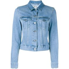 ACNE STUDIOS Denim Jacket ($310) ❤ liked on Polyvore featuring outerwear, jackets, jean jacket, blue jackets, acne studios, long sleeve jean jacket and blue denim jacket