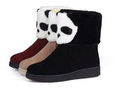 - Cute cool panda winter boots for a charming style - Lovely panda design in front for a unique look - Cotton fur lining to keep your feet warm and cozy - Made from velvet - Sole made from TPR - Avail