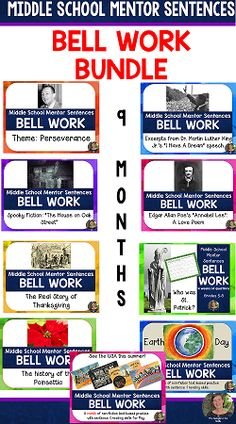 bell ringers for middle school mentor sentences year long bundle