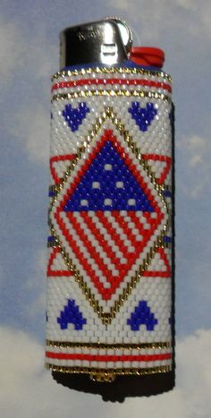 USA Lighter Cover beaded by SoaringHawkTraders on Etsy