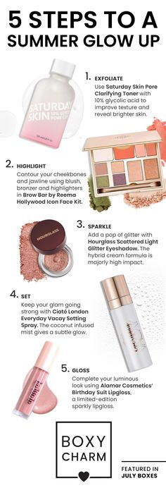 Want to achieve the perfect summer glow? Here are 5 steps to help you get this look using July Base and Premium items from #BoxyCharm 💗 Brow Bar, Bright Skin, Summer Glow, Hollywood Icons, Glycolic Acid, Contouring And Highlighting, Jawline, Bronzer, Brows