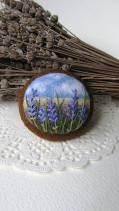 Needle felted brooch with embroidery by FeltAccessories