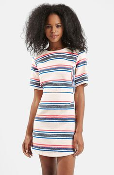 Topshop Stripe Jacquard A-Line Dress,