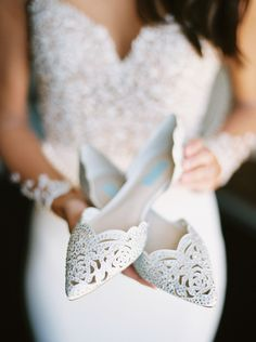 These white pointed toe jeweled flats are everything!  Vista West Ranch Texas Wedding