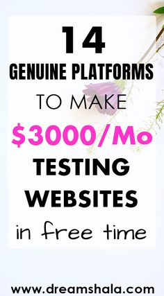 14 best platforms to make money from home by testing apps and websites. Best side hustles from home to make extra money online. Earn Money From Home, Earn Money Online, Make Money Blogging, Online Jobs, Money Tips, Way To Make Money, Earning Money, Online Income, Money Fast