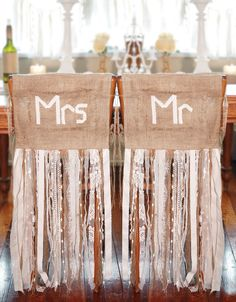 Mr.& Mrs.on burlap with floor length ribbons. Source: Marrighi DIY Weddings & Events. #weddingchairdecor #burlap #rustic