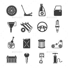 Auto Service Icons Black (Vector EPS, CS, air, auto, automobile, automotive, block, business, car, chain, cooling, engine, filter, icons, mirror, motor, oil, parts, pipe, piston, plug, repair, replacement, service, set, shift, shock, spark, suspension, system, vehicle, wheel)