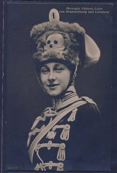Princess Viktoria Luise in the uniform of the 'Death's Head Hussars' (Life Hussar Regiment (Leib Husaren Regt Nr 2) of which she was Colonel in Chief). ca.1910.