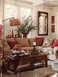 Deep red and neutral color scheme from Pottery Barn Nov 2013