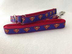 Superman Dog Collar, Superhero Dog Collar, Superman Leash, Martingale Dog Collar by TiltheChowsComeHome on Etsy
