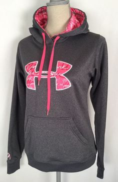 UNDER ARMOUR Storm Gray Pink Hoodie BREAST CANCER AWARENESS Woman's Sz Small #UnderArmour #Hoodie