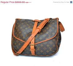 SALE OFF Authentic Louis Vuitton SAUMUR 35 Messenger Shoulder Bag Purse Monogram / Free Shipping by mysunnystore. Explore more products on http://mysunnystore.etsy.com