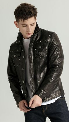 Boys Leather Jacket, Fur Jacket, Punk Fashion, Denim Fashion, Fashion Outfits, Looks Chic, Latest Outfits, Collar Styles, Mens Clothing Styles