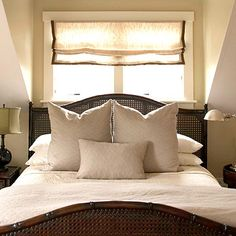 @Sarah Chintomby Wehrspann Teske Your master bedroom...did you try this with the position of your bed? I can't remember if your window was single or double? Looks like they painted just the inside of the dormer which softens the hard angles. Good idea!