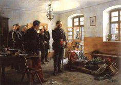 Le prince héritier de Prusse Frédéric se recueillant devant le corps du général Douay, après la bataille de Wissembourg. (Tableau de Aton von Werner)