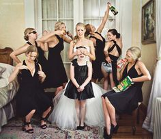 You gotta have fun on your wedding day!  This photo trips me out!  Who's going to do something like this??