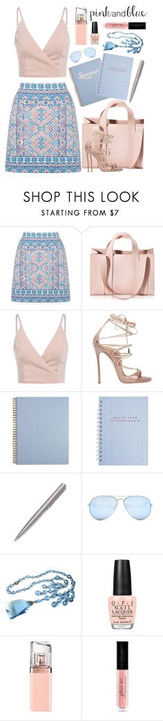 """Pink and Blue Summer Day"" by rasa-j ❤ liked on Polyvore featuring Oasis, Corto Moltedo, Dsquared2, Louis Vuitton, GUESS, OPI and HUGO"
