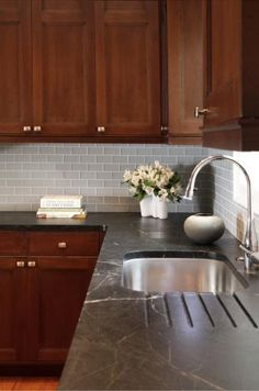 Black Moon Soapstone countertops with drainboard and goose neck faucet! Loving the dark cabinets and light grey subway tile backsplash! Kitchen Ideals, Home Kitchens, Kitchen Remodel, Kitchen Design, Kitchen Inspirations, Kitchen Decor, Country Kitchen, New Kitchen, Kitchen Dining