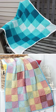 Free knitting pattern for Easy Shortcake Baby Blanket - This modular blanket is . Free knitting pattern for Easy Shortcake Baby Blanket - This modular blanket is knit with striped garter stitch mitered . Crochet Blanket Patterns, Baby Knitting Patterns, Free Knitting, Knit Squares Blanket, Square Blanket, Knitting Ideas, Knitting Projects, Crochet Pattern, Mitered Square
