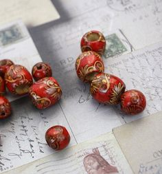 Paper Mache Wooden Barrel Beads