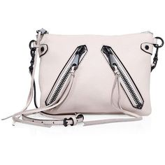 Rebecca Minkoff Moto Jon Leather Crossbody Bag ($145) ❤ liked on Polyvore featuring bags, handbags, shoulder bags, apparel & accessories, putty, crossbody purses, leather shoulder handbags, pink shoulder bag, leather crossbody purse and leather purses