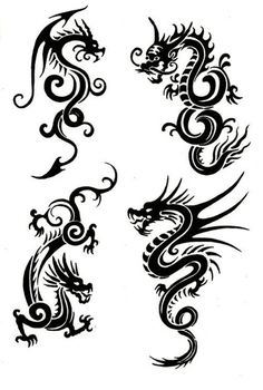Tribal Chinese Dragon Tattoos Would make lovely patterns on pillows, clothing e. - Tribal Chinese Dragon Tattoos Would make lovely patterns on pillows, clothing etc. Simple Dragon Drawing, Dragon Tattoo Simple, Chinese Dragon Drawing, Dragon Tattoo For Women, Chinese Dragon Tattoos, Dragon Tattoo Designs, Dragon Henna, Viking Dragon Tattoo, Dragon Tattoo Photo