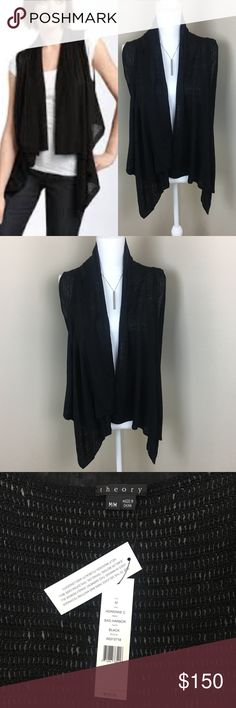 """Theory Adrienne C Sag Harbor Black Vest New with Tags super cute vest The back is knit and the front hangs Never worn Chest 14"""" Length from top of shoulder to the longest Front part 28"""" Pet free & smoke free home Thanks for checking out my closet, feel free to bundle for discounts. Offers are Welcome. Message me with any questions 😊 Theory Tops"""