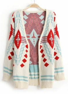 Beige Long Sleeve Diamond Patterned Cardigan Need this for fall and winter in Minnesota!!