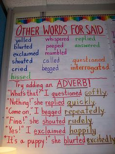 """Others words for """"said"""" + adding an adverb"""