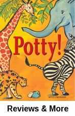 "Potty by Mylo Freeman | Juv. Easy Freeman | In the jungle sits a potty with the words, ""Only the best bottom will fit on this potty,"" which prompts different animals to give it a try until a stranger shows them who fits it best."