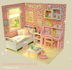 ♥ NEW DIORAMA PASTEL PINK ♥     For around 16 cm doll like Lati yellow, Middie Blythe, Puki fee , odeco and nikki , licca , enyo , etc...  ...