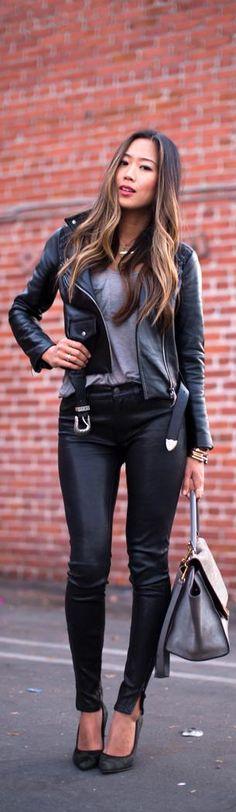 Leather jacket and leather pants style женщина Look Fashion, Autumn Fashion, Fashion Outfits, Fashion Over 50, Womens Fashion, Street Fashion, Fashion Edgy, Fashion Black, Style Invierno