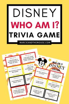 Looking for a super cute Disney printable game? Click to print your FREE Disney Trivia Game: Who Am I? Game featuring all kinds of Disney questions and answers. It's a Disney game for the whole family! | Marcie and the Mouse #disney #disneyprintable #disneygame #disneytrivia