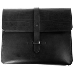 C.S Ipad Leather Case ($165) ❤ liked on Polyvore featuring accessories, tech accessories, black, leather tablet sleeve and tablet sleeve
