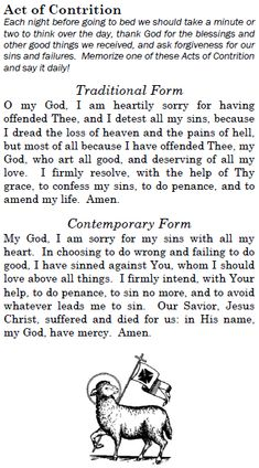 Act of Contrition | Father Jerabek's Blog. Notice the Victorious Lamb symbol at the bottom of the prayer. I have this appliqué on my car.