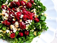 Kale Salad with Cherries, Almonds and Goat Cheese