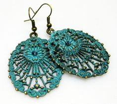 Teal Patina and Brass Earrings  Turquoise von MyGemstoneDesigns