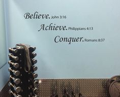 Motivational Religious Wall Decal. Believe Achieve Conquer Motivational Religious Quote.