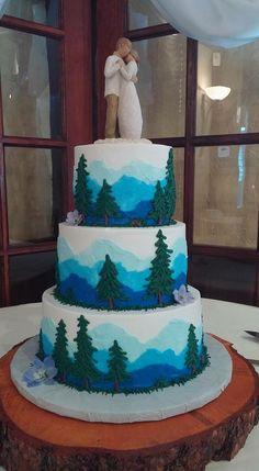 Funky Wedding Cakes, Cream Wedding Cakes, Buttercream Wedding Cake, Wedding Desserts, Woodland Theme Cake, Lake Cake, Sharon Davis, Nature Cake, Silhouette Wedding Cake
