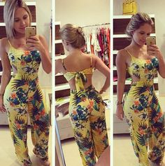 Sexy Sleeveless Backless Floral Print Yellow Blending One-piece Regular Jumpsuit_Jumpsuits_Womens Clothing_LovelyWholesale   Wholesale Shoes,Wholesale Clothing, Cheap Clothes,Cheap Shoes Online. - LovelyWholesale.com
