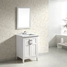 Salem White 24-inch Bath Vanity with 2 Doors and White Marble Top   Overstock.com Shopping - Great Deals on WyndenHall Bathroom Vanities