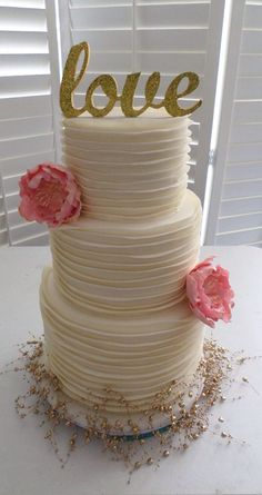 Ruffle peony flower engagement cake created by Villa Chateau