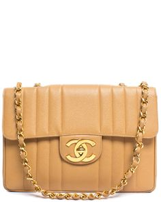 Spotted this Chanel Beige Vertical Stripe Caviar Leather Jumbo Single Flap Bag on Rue La La. Shop (quickly!).