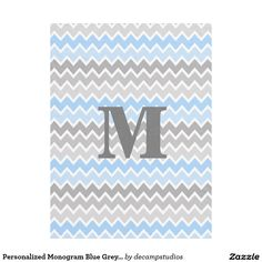 Personalized Monogram Blue Grey Gray Ombre Chevron Fleece Blanket