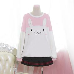 Pink/black kawaii rabbit fleece pullover SE6605.  For 10% off use the discount code: Isabella