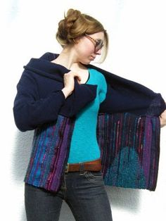 Mixing knitwear with Saori weaves, clothing can be worn in many ways :) www.thesaorished.co.uk