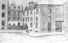 Illustration of Mitre Square, where the murder of Jack the Ripper's fourth victim Catherine Eddowes was found, Eddowes was found on 30 September 1888, the same night as Elizabeth Stride